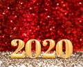 Happy new year 2020 year number 3d rendering at sparkling gold and red glitter studio background ,Holiday Greeting card.copy