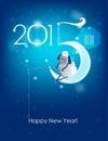 Happy new year original christmas card sheep fishing Stock Photos