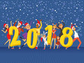 Happy New Year 2018, party people celebrating colorful vector Illustration