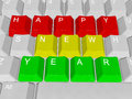 Happy new year pc keys illustration of Stock Photo