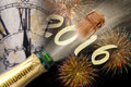 Happy new year 2016 with popping champagne Royalty Free Stock Photo