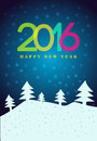 Happy New Year 2016 poster. Colorful type on background with snowflakes. Greeting card template. Vector illustration. Royalty Free Stock Photo