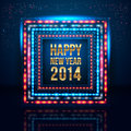 Happy new year poster with frame made of lights vector image Stock Photos