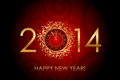 Happy new year red background with shiny gold clock vector Stock Photos