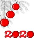 Happy New Year. Red Christmas balls on gray coniferous branches and red numbers 2020 on a white background
