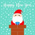 Happy New Year. Santa Claus on the roof chimney. Red hat, beard, costume, belt buckle, bag, gift box. Merry Christmas. Cute Royalty Free Stock Photo