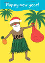 Happy new year santa claus in warm countries wishes a Stock Photos
