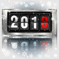 Happy New Year 2018 scoreboard vector realistic illustration. Mechanical clock design for greeting card