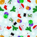 Happy New Year seamless pattern with Santa Claus, snowman, spruce twig, sock for gifts