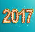 Happy new year 2017 shining retro light. Royalty Free Stock Photo