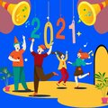 Happy New year,  2021, sky, idea,celebration idea Royalty Free Stock Photo
