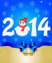Happy new year from snow with snowman greeting cards blue bows vector illustration Stock Images