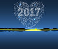 Happy New Year 2017 starburst heart. Royalty Free Stock Photo