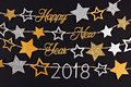 Happy New Year 2018 text banner with strings of stars against black Royalty Free Stock Photo