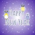 Happy New Year. Three owls.