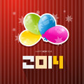 Happy new year title with colorful balloons on red background Royalty Free Stock Images