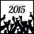 Happy new year toasting hands silhouette eps vector illustration Stock Image