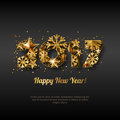 Happy New Year 2017 vector greeting card with golden numbers. Abstract holiday black glowing background.