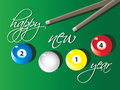 Happy new year vector illustration of a text and billard balls signing Royalty Free Stock Images