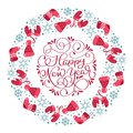 Happy New Year vector scandinavian calligraphic vintage text. Winter Christmas Wreath with xmas phrase. Greeting card Royalty Free Stock Photo