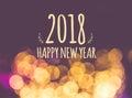 2018 happy new year on vintage blur festive bokeh light backgrou