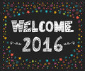 Happy New Year. Welcome 2016. Cute greeting card with colorful Royalty Free Stock Photo