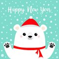 Happy New Year. White polar bear holding hands paw print. Red scarf, hat. Cute cartoon funny kawaii baby character. Merry Royalty Free Stock Photo