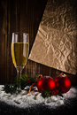 Happy new year white wine and christmas balls card s eve decoration Stock Photos