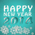 Happy new year winter illustration in blue colors with paper cut effect Royalty Free Stock Image