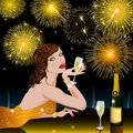 Happy New Year with woman Royalty Free Stock Photo