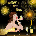 Happy New Year with woman Royalty Free Stock Images