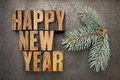 Happy New Year in wood type Royalty Free Stock Image