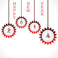 Happy new year word with gear illustration of Royalty Free Stock Photos