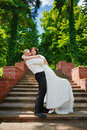 Happy newlywed couple wedding day groom bride are hugging and smiling love Stock Photo