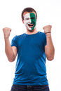 Happy northern irishman football fan pray for northern ireland national team on white background european fans concept Royalty Free Stock Image