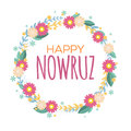 Happy Nowruz greeting card with flowers and leaves. Iranian, Persian New Year. March equinox. Colorful floral wreath. Royalty Free Stock Photo