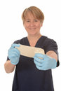 Happy nurse with bandage Royalty Free Stock Images
