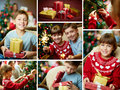 Happy occasion collage of siblings on christmas evening Royalty Free Stock Photo