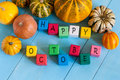 Happy October wooden blocks with many-coloured Royalty Free Stock Photo