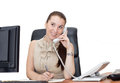 Happy office worker girl on landline phone call Royalty Free Stock Photo