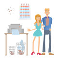 Happy office workers stand at the copier or printer. Man and Woman in the workplace. Vector illustration, isolated on Royalty Free Stock Photo