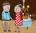 Happy old couple celebrate thanksgiving day cartoon vector illustration of at home Royalty Free Stock Image