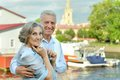 Happy old couple senior resting at the resort during vacation Stock Image