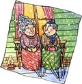 Happy old couple senior in warm clothes sitting outside house on a bench and drinking a hot coffee winter season watercolor and Royalty Free Stock Images