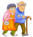 Happy old couple walking together Stock Image