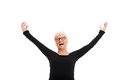 Happy old lady with raised hands isolated on white Royalty Free Stock Photography