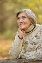 Happy old woman beautiful in the autumn park Stock Photos