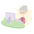 Happy old woman using computer vector illustration eps Stock Photography