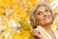 Happy old woman on a yellow Stock Image