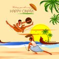Happy Onam background for Festival of South India Kerala with Kalaripayattu dance form